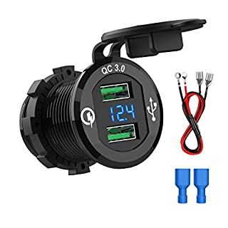 CHGeek QC3.0 Dual USB Charger Socket, 12V/24V USB Fast Car Charger Power Outlet [Comes with Wire Built in 10A Fuse] with LED Digital Voltmeter for Motorcycle, Caravan, Truck, Boat and more