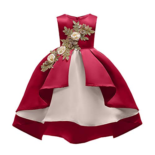 Flower Girl-tank (Girls Flower Stickte Bow Tie Princess Party Dress Tulle Wedding Christening Tutu Dress for Girls,Red,XXXL)