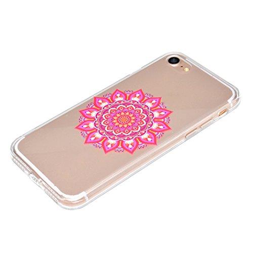 "Coque iPhone 7 Apple ,iPhone 7 Silicone Case Rosa Schleife® Ultra Mince Souple TPU Silicone Gel housse de protection Etui antichoc Etui pour Apple iPhone 7 (4.7"") -Mandala Brun 1-style"