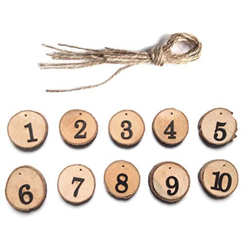 Ben-gi 10pcs 10.01 Hochzeits-Baum aus Holz Scheibe Tabellen-Zahlen DIY-Mittel Hanging Digitale Sitz Dekoration Anmeldung (Holz Baum-scheiben)