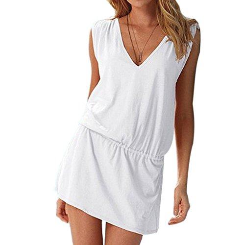 Minetome Femmes d'été V profond Robe De Plage Halter Neck en coton Combishort Blanc
