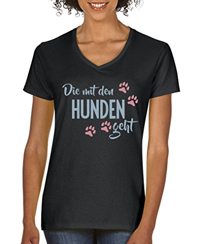 Comedy Shirts - Die mit den Hunden geht - Damen V-Neck T-Shirt - Schwarz/Eisblau-Rosa Gr. XXL