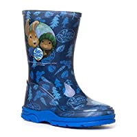 Boys Peter Rabbit Wellington Boot Blue Rain Wellies Mid Calf Snow Kids Size 5-10 (5 UK Child, Blue)