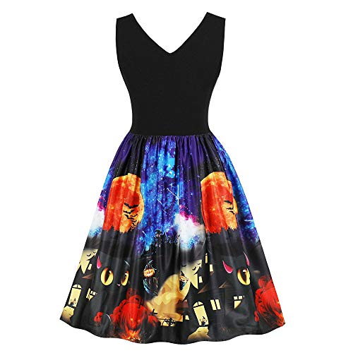 LILIHOT Frauen Halloween Party Kleider Vintage ärmellose Swing Dress Kürbisse Abend Prom Kostüm Festlich Elegant Hepburn Cocktail Abendkleid Rockabilly Ballkleid