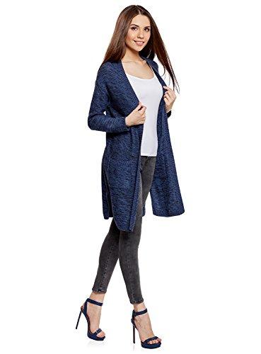 oodji Ultra Damen Langer Cardigan mit Seitentaschen Blau (7929M)
