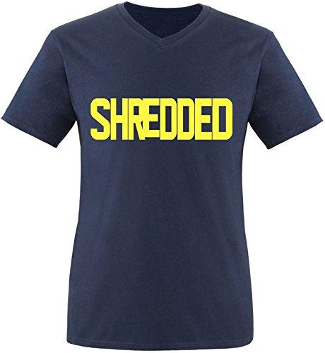 EZYshirt® Shredded Herren V-Neck T-Shirt Navy/Gelb