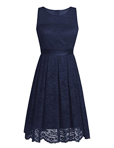 iiniim Damen Kleid Ärmellos Brautjungfern Kleid A-Linie Spitze Cocktail Party Ballkleid Abendkleid...