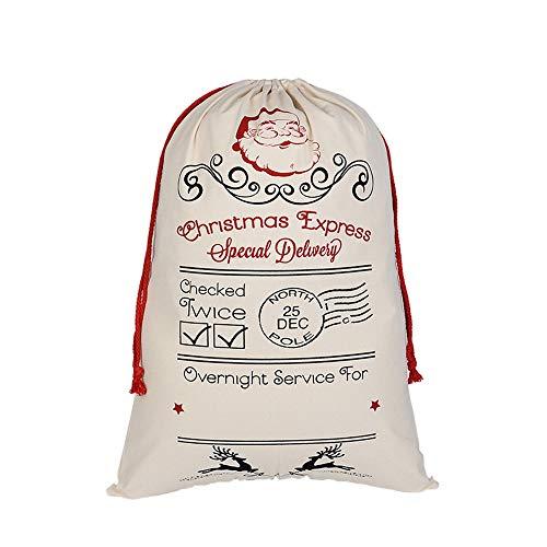laamei Sacs en Toile de Jute de Grande Taille Pochette de Sacs-Cadeaux de Cordon pour Noël