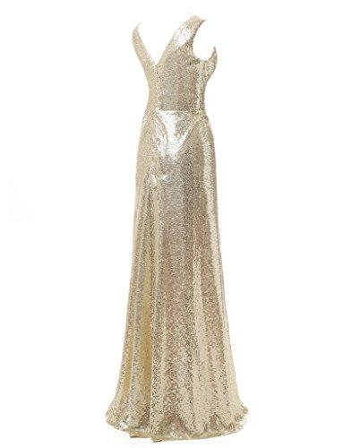 jydress femmes de robe longue avec col en V plissé paillettes soirée Party robe Soirée robes 2016 Doré
