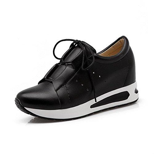 VogueZone009 Femme à Talon Correct Matière Souple Couleur Unie Lacet Rond Chaussures Légeres Noir