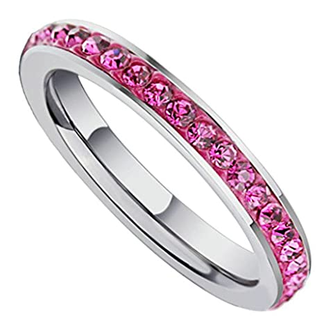 Beydodo Stainless Steel Ring For Women (Wedding Bands) Eternity Rings Width 3MM Stick Pink CZ Size J 1/2