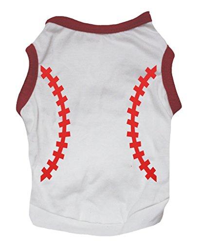 petitebelle Puppy Kleidung Hund Kleid Baseball Muster weiß rot Baumwolle T-Shirt -