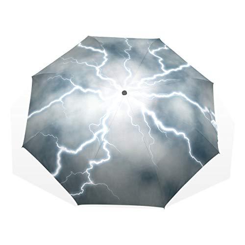 EZIOLY Elektrischer Reise-Regenschirm, kompakt, faltbar, Sonnen- und Regenschutz, Winddicht, tragbar, für Kinder, Damen, Herren (Ebene Elektrischer)