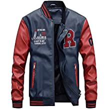 c250dc36ead7 ROBO Veste Cuir Homme Jacket Moto Veste de Baseball Epais Casual Bomber  Blouson FRS-3XL