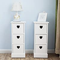 UEnjoy Pair of Bedside Tables White Chest of 3 Drawers Elegant Heart Shape