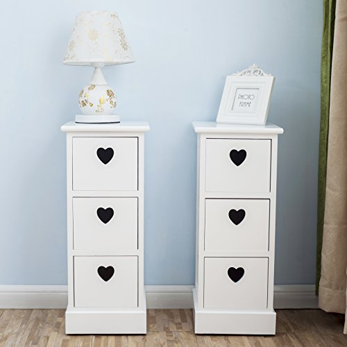 2 Schublade Nachttisch (UEnjoy 2 x Nachttisch Nachtschrank / Kommode mit 3 Schubladen mit Herz-Ausschnitt)