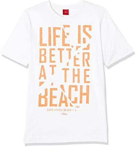 s.Oliver Jungen T-Shirt 61.705.32.4942, Weiß (White 0100), 152 (Herstellergröße: M)