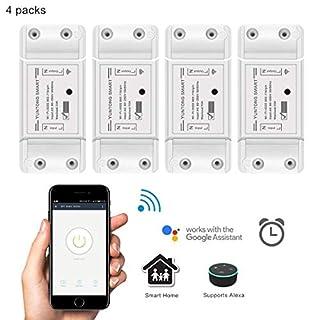 WiFi Smart Switch Drahtlose Fernbedienung Relais Schalter Modul DIY Ihr Smart Home mit Countdown und Timer-Funktion AC 90-250V 2200W (4 Pack)