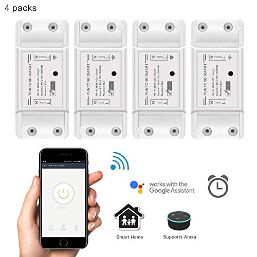 WiFi Smart Switch Drahtlose Fernbedienung Relais Schalter Modul DIY Ihr Smart Home mit Countdown und Timer-Funktion AC 90-250V 2200W (4 Pack) (3g-remote Power Switch)