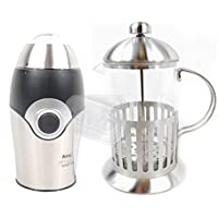 Wahl James Martin Mini Coffee Grinder + 600ML Cafetiere Coffee Plunger