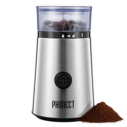 Molinillo de Café, PHONECT Molinillo compacto de café con Desmontable Bowl para Granos de Café, Nueces, Especias; Cuchillas de Acero Inoxidable con Tapa Transparente y Una Capacidad de 60g