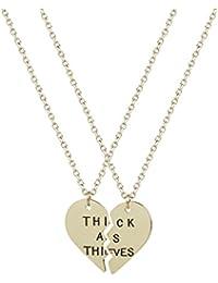 Lux accessoires Best Friends Meilleures Amies épais que les voleurs avec coeur Collier Pendentif (2 pièces)