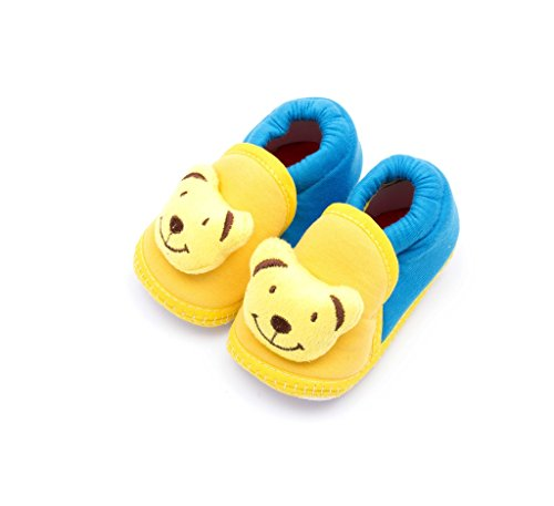 Infano Teddy Style Yellow And Blue Color Baby Shoes (3-9 months,1 Pair)