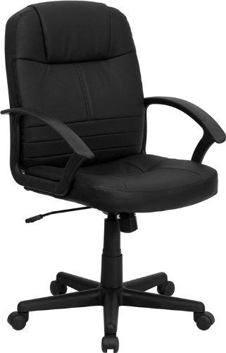 Flash Möbel mid-Back Leder Executive Drehstuhl mit Armlehnen, Metall, schwarz, 63,5x 63,5x 30,48cm