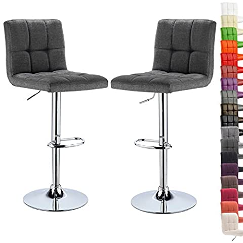 WOLTU BH32dgr-2-a Set of 2 Linen Swivel Bar stools with