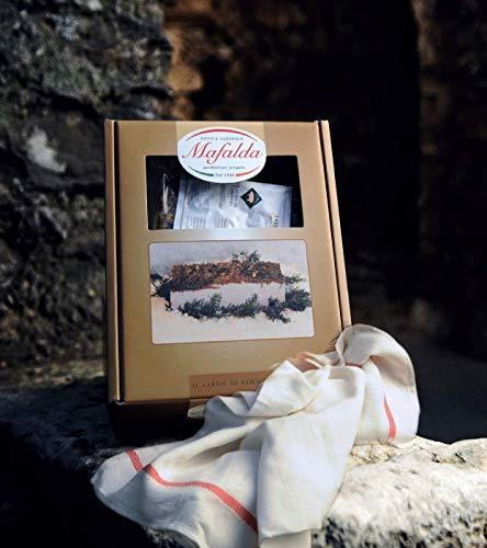 Box Mafalda con 1 Kg. di Lardo di Colonnata IGP + canovaccio per conservazione lardo + opuscolo descrittivo