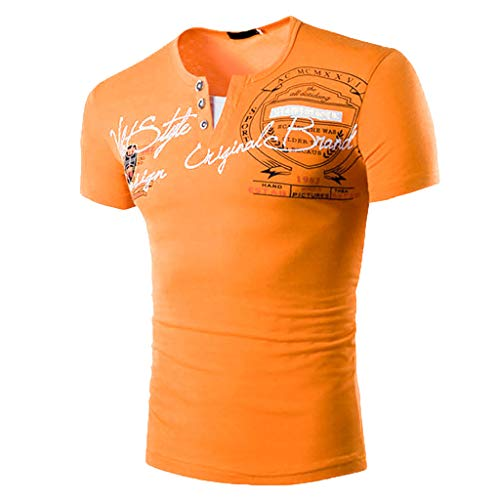 uchstabe Persönlichkeit Button O-Kragen Kurzarm T-Shirt Bluse Tops Multi-Color S-3XL(3XL.Orange) ()