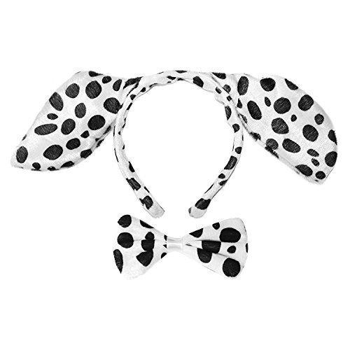 Dalmatiner Für Erwachsene Kostüme (Erwachsene / Kinder Dalmatiner Verkleidung Kopfschmuck & Fliege)