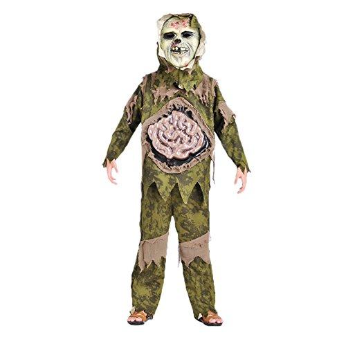 Per Scary Skeleton Zombie Kostüm für Hallowmas & Halloween Party Großer Darm Ghost Gown mit Maske für Kinder Kinder(M) (Thriller Zombie Kostüm)