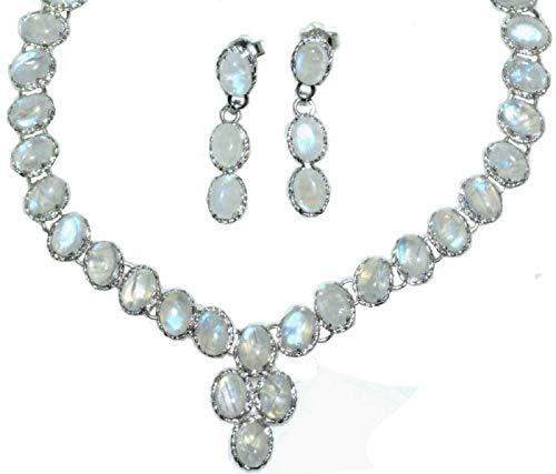 Sterling Silber Set Regenbogen Mondstein Halskette & Ohrring, Hand Made 925Geburtsstein Schmuck Geschenke