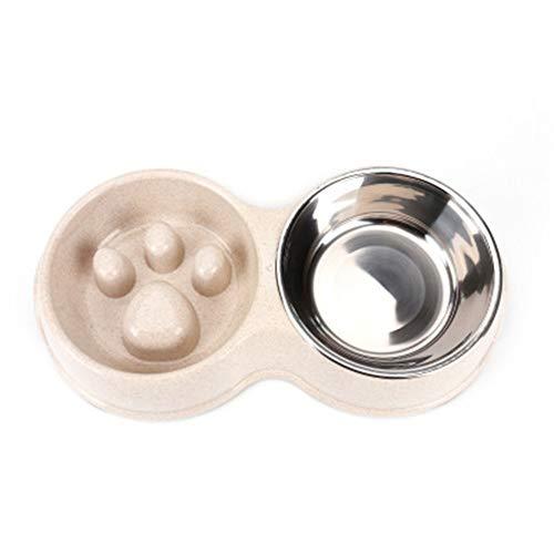 KLJJQAQ Hundeschüssel Weizenstroh Slow Food Anti-Milben Edelstahl Doppel Schüssel Tiernahrung Utensilien Anti-Rutsch-Katzenfutter Schüssel,Brown (Edelstahl Saug-schüssel)
