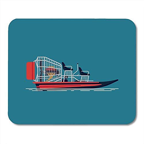 Schreibtischunterlage,Boot Cool Auf Freizeit-Wasseraktivität Und Ökotourismus Airboat Fanboat Attraction Engine Mauspad, 18X22 Cm