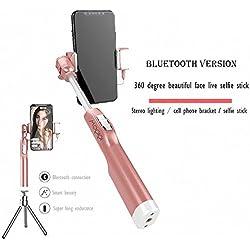 Best Bluetooth selfie stick con LED luce di riempimento uso in esterni, treppiede, rotazione regolabile per iPhone x/iPhone 8/8Plus/iPhone 7/iPhone 7Plus/Galaxy S9/S9Plus/Note