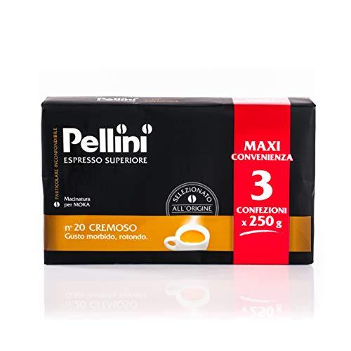 Pellini Caffè für Espressokanne Gusto Cremoso Nr. 20 zu je 3X250 g - Insgesamt 750 g
