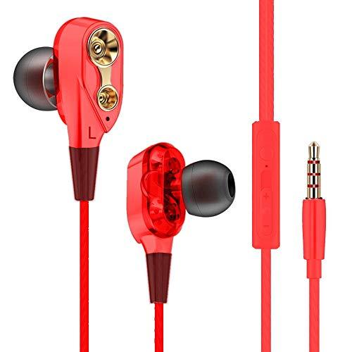 OOFAYWFD Écouteurs Intra-Auriculaires 7D HiFi Dual Dynamic Driver Écouteurs Stéréo Super Bass Casque,Red