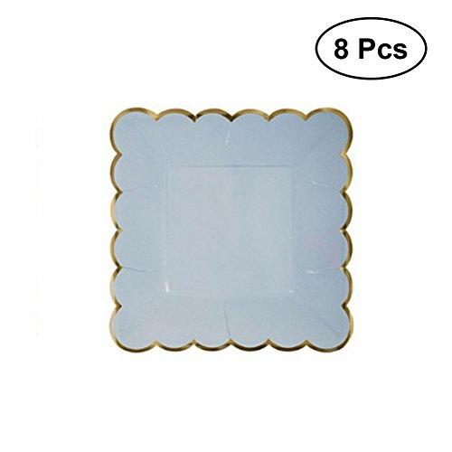 toymytoy 8Einweg Party Pappteller quadratisch Pappteller für Baby Dusche Geburtstag Hochzeit Party Favor (hellblau)