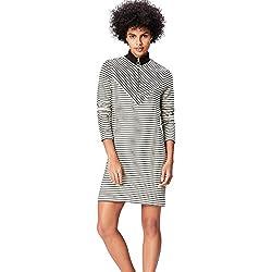 FIND Vestido de Rayas con Cuello Alto para Mujer , Blanco (Blanco), 40 (Talla del Fabricante: Medium)