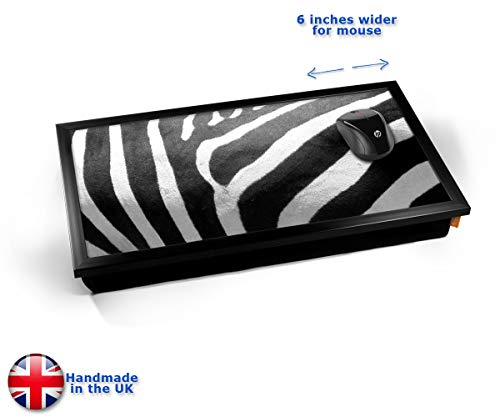 Zebra Animal Skin Cushioned Bean Bag Laptop Lap Tray Desk - Built-in EMF Shield (Electro Magnetic Field) Kissen Tablett Knietablett Kissentablett - Schwarzer Rahmen