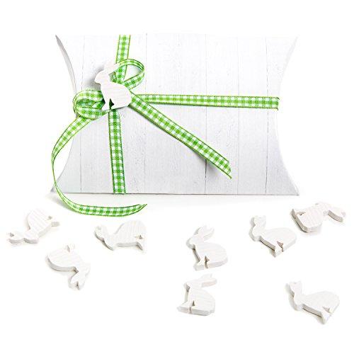 Set di imballaggio: 5pezzi piccoli mini regalo di pasqua confezionare + verde bianco a quadretti fiocco + coniglietto pasquale in cartone scatola mini box–una alternativa al pasqua nido give away mitgebsel per bambini