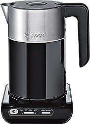 Bosch TWK8613P Styline Wasserkocher (2400 W, Temperaturauswahl, Abschaltautomatik, Warmhaltefunktion, Überhitzungsschutz, Fassungsvermögen 1,5 L) schwarz