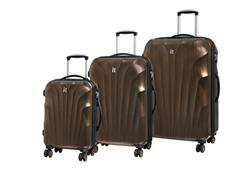 It luggage Set 3 Pezzi Momentum 8 Ruote Valigia Rigida Singola Espansione con Tsa Lock Valigia 80 Cm, Gold/Black Brushed (Oro) - 16-2176-08GLO3N-M146