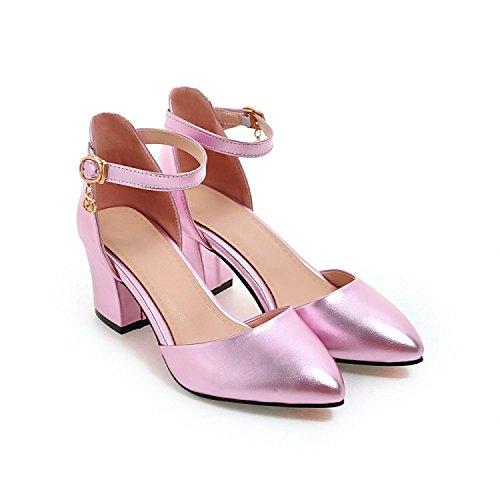 Damen-Heels Ankle Strap Fashion Block Heels Schuhe Flache Spitz High Heels Schuhe,Pink-EU39=245 Rosa Ankle Strap High Heel