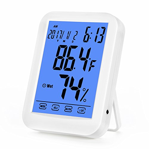 Zantec LED Digital Hygrometer Thermometer Uhr Datum Haushalt Büro Desktop Touchscreen Display Einheit