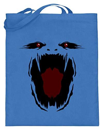 Hochwertiger Jutebeutel (mit langen Henkeln) - Monster Gesicht Gruselig Halloween - Schlichtes Und Witziges Design