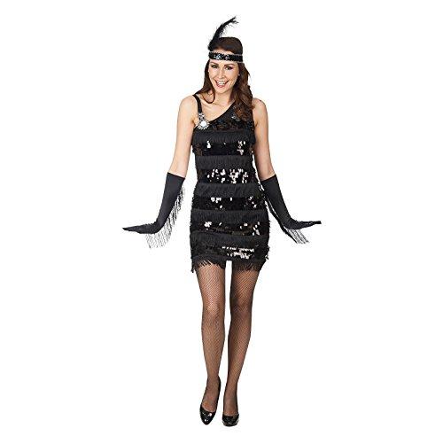 Charleston 50ziger Jahre Kleid Damen Kostüm mit Pailletten schwarz - (Pailletten Shirt Erwachsene Kostüme)