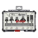 Bosch Professional 2607017468 Juego de 6 Fresas para perfilar y Recortar (para Madera, para fresadoras con vástago de 6 mm)